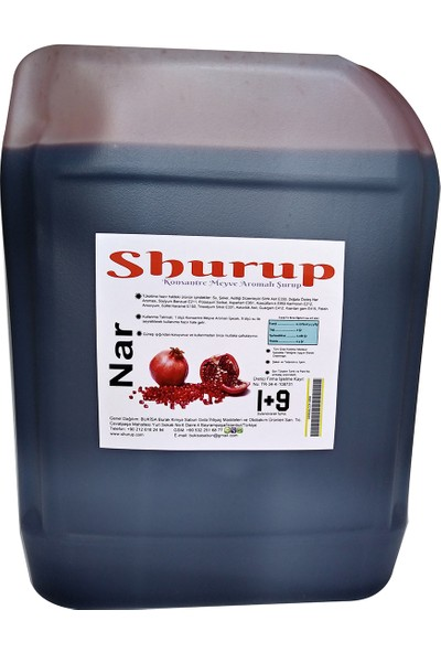 Shurup Konsantre Meyve Aromalı İçecek 6 kg Vişne + Limon + Nar ( 3' lü)