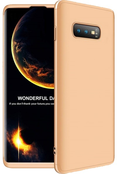 DVR Samsung Galaxy S10E Kılıf Tam Koruma 360 Sert Silikon 3 Parçalı Ays (Gold)