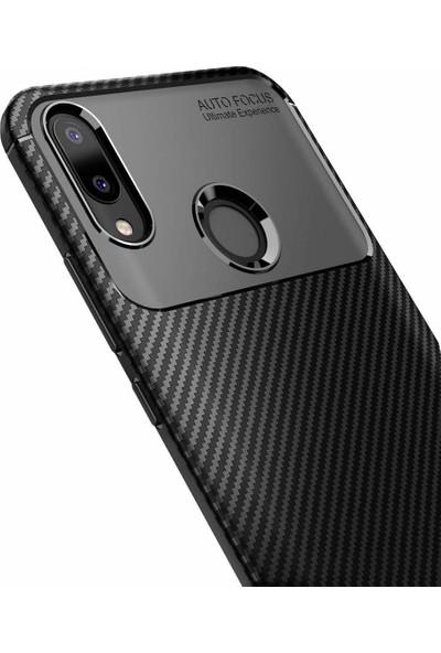 DVR Samsung Galaxy M20 Kılıf Silikon Negro Özel Karbon Fiber Darbe Korumalı (Lacivert) + Nano Cam Ekran Koruyucu