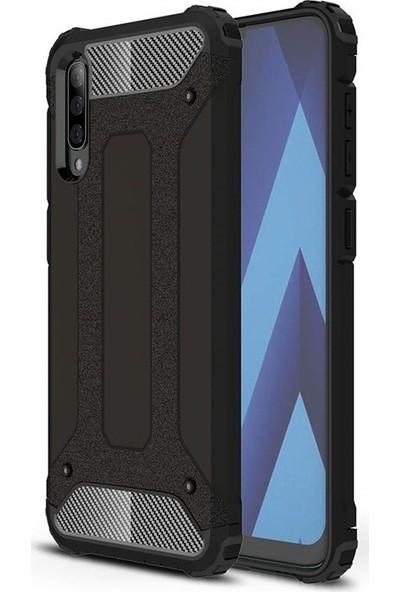 DVR Samsung Galaxy A70 Kılıf Çift Katmanlı Crash Tank Kapak (Siyah)