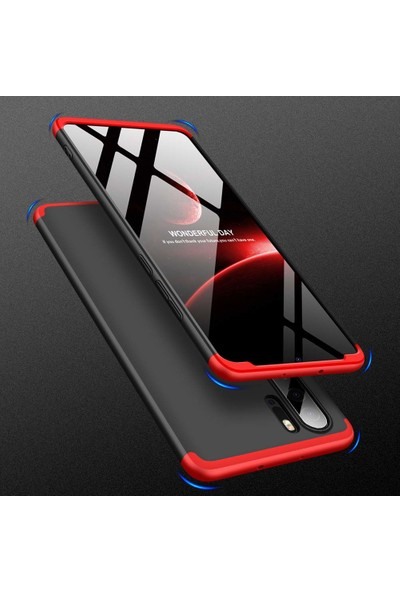 DVR Huawei P30 Pro Kılıf Sert Silikon 3 Parçalı Ays (Siyah - Mavi) + Tam Ekran Cam Koruyucu