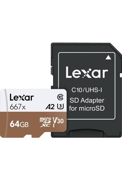 Lexar 64GB Micro SDXC UHS-I 667X C10 U3 4K V30 A2 100Mb/sn LSDMI64GB667A Hafıza Kartı