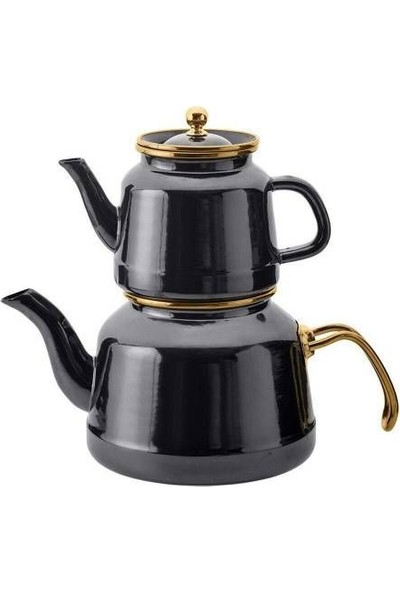 Emsan Troy Emaye Çaydanlık Takımı Siyah