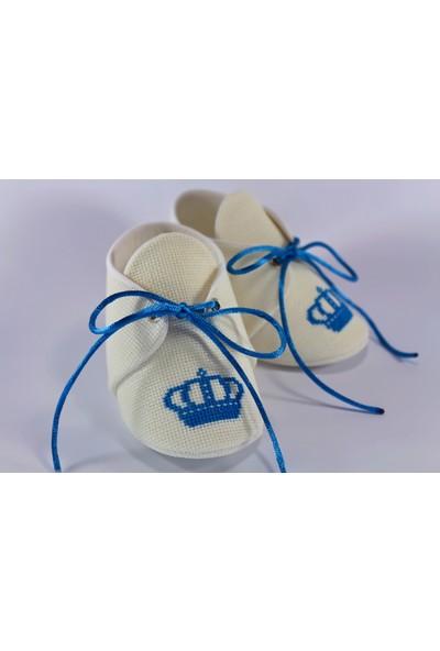 Etamine Takı Atölyesi İsimli Bebek Ayakkabısı Mavi Taç