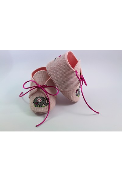 Etamine Takı Atölyesi İsimli Bebek Ayakkabısı Pembe Fil