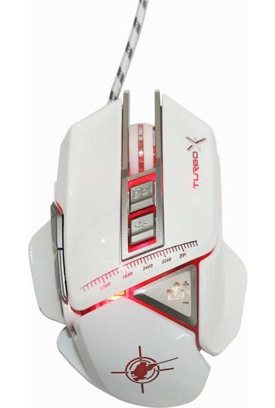 Turbox TR-X9 Kablolu Profesyonel Oyuncu Mouse - Beyaz