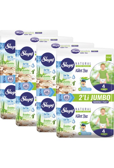 Sleepy Külot Bebek Bezi 4 Beden Maxi 60'Lı X 4 Paket 240 Adet Bez 7 -14 kg