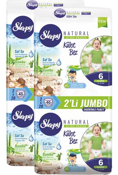 Sleepy Külot Bebek Bezi 6 Beden Xlarge 40'Lı X 2 Paket 80 Adet Bez 15 - 25 kg
