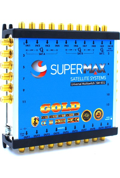 Supermax 10/12 Dual Multiswitch Gold Uydu Santrali