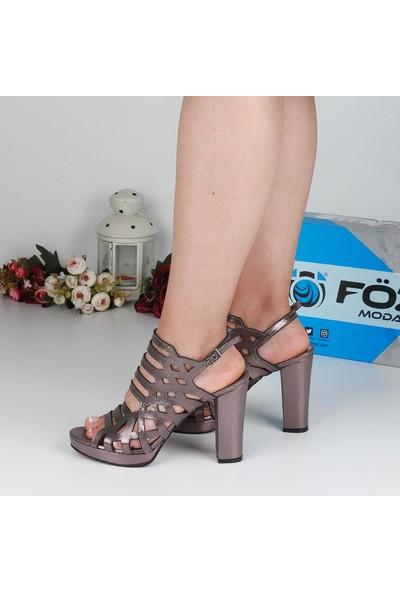 Föz 001 Füme Lazer Kesim Kadın Topuklu Ayakkabı