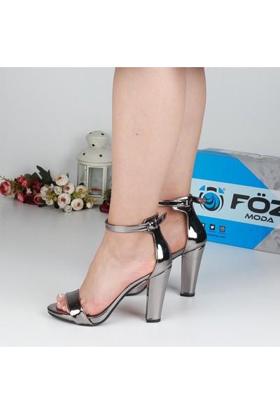 Föz 002 Füme Tek Bant Kadın Topuklu Ayakkabı