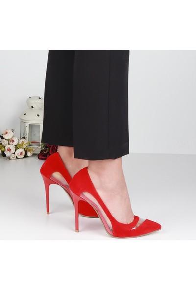 Föz 003 Kırmızı Süet Stiletto Kadın Topuklu Ayakkabı