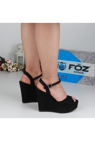 Föz 007 Siyah Süet Dolgu Topuk Kadın Ayakkabı