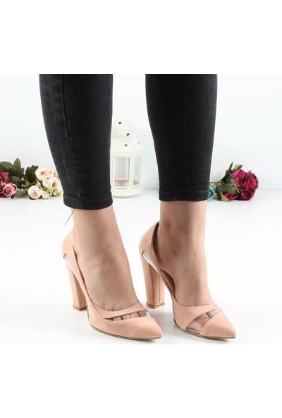 Föz Pudra Süet Stiletto Kadın Topuklu Ayakkabı
