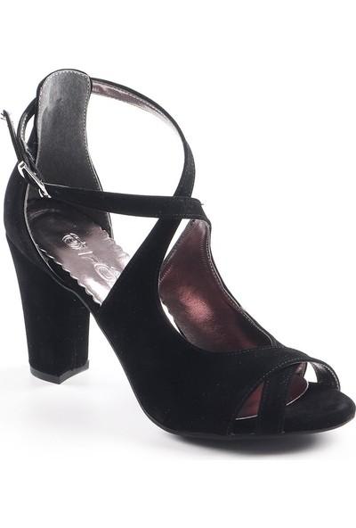Föz Siyah Süet Çapraz Bant Kadın Topuklu Ayakkabı