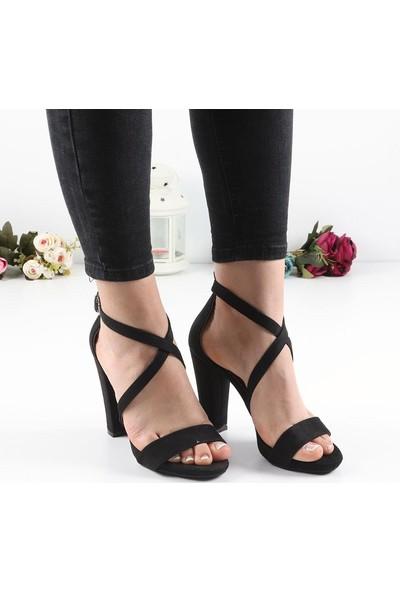 Föz Siyah Süet Tek Bant Kadın Topuklu Ayakkabı