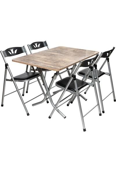 Sinem Antik Katlanır Mutfak Balkon Masa Sandalye Takımı 70X110BLK