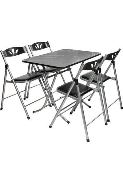 Sinem Siyah Katlanır Mutfak Balkon Masa Sandalye Takımı 60X90BLK
