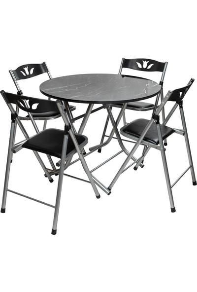 Sinem Siyah Yuvarlak Katlanır Mutfak Masa Sandalye Takımı 90X90W