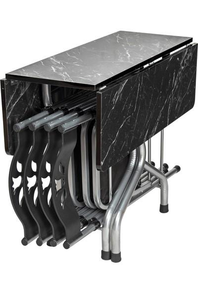Sinem Yeni Katlanır Kırma Kare Siyah Masa Sandalye Takımı Seti