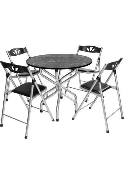 Sinem Katlanır Kırma Yuvarlak Siyah Masa Sandalye Takımı Seti