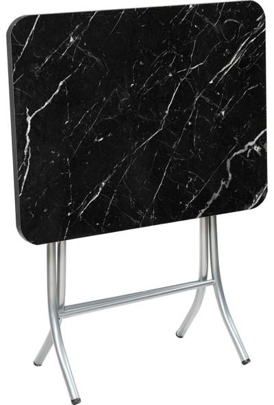 Sinem Katlanır Siyah Mermer Desen 45X60 Katlanabilir Masa Sehpa