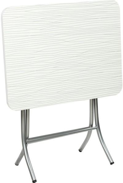 Sinem Katlanır Kırma Katlanabilir Ahşap 45X60 Beyaz Masa Sehpa