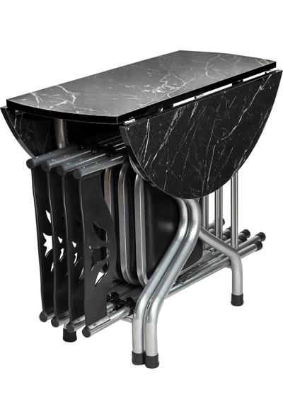 Sinem Yeni Katlanır Kırma Yuvarlak Siyah Masa Sandalye Takımı Set