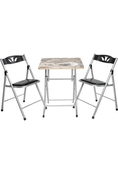 Sinem Katlanır Gri Mermer Desen 60X60BL Masa Sandalye Takımı Seti