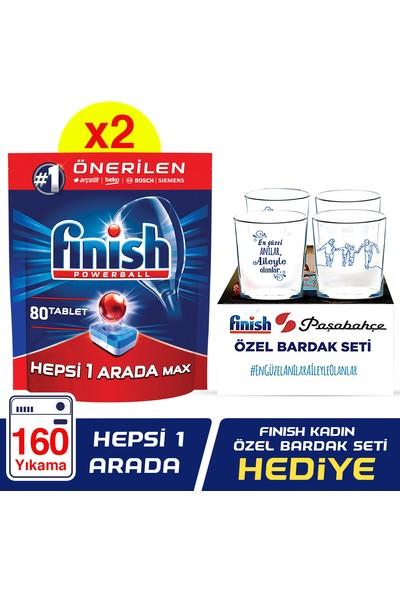 Finish Hepsi Bir Arada 160 Tablet Bulaşık Makinesi Deterjanı (80x2) + Paşabahçe Kadın Özel Bardak Set