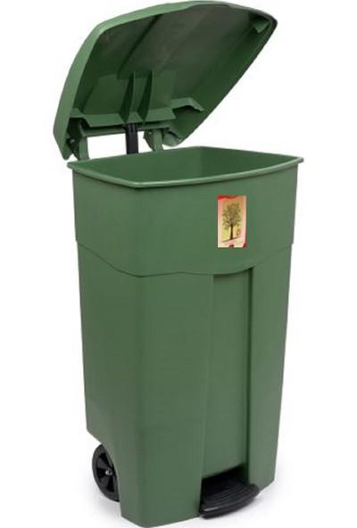 Violet Tekerlekli Pedallı Çöp Konteyneri Çöp Kovası 80 Lt. (Yeşi̇L)