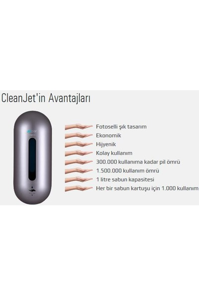 Midry Clean Jet Fotoselli Sıvı Sabun Dispenseri. 1564
