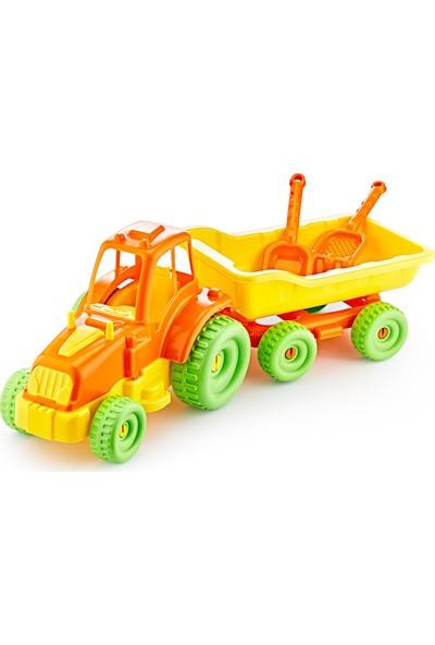 Güçlü Toys Büyük Römorklu Traktör Oyuncak Oyuncak Traktör Seti