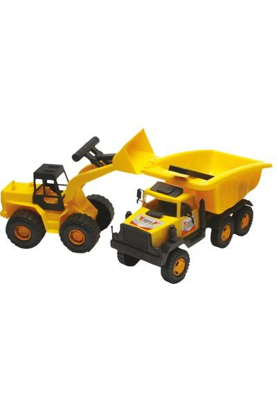 Güçlü Toys 2'li İnşaat Kamyon Seti Kamyon Ve Kepçe