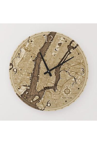 Kutu Sanat Ahşap Newyork Haritası Saati 50 cm