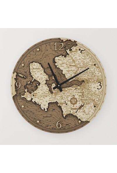 Kutu Sanat Ahşap İzmir Haritası Saati 50 cm