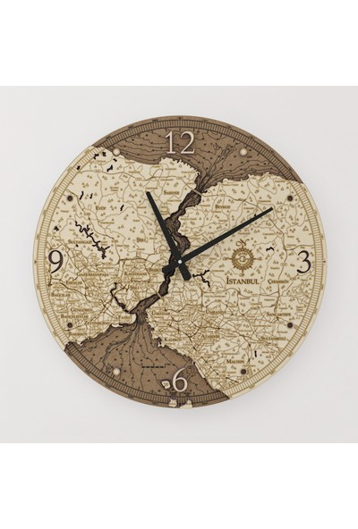 Kutu Sanat Ahşap İstanbul Haritası Saati 50 cm