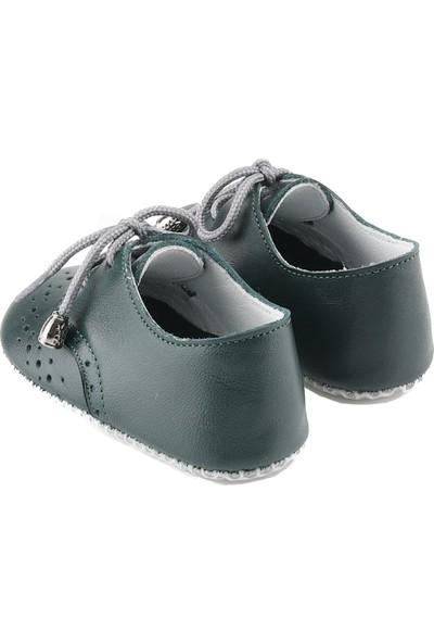 Deriza Bağcıklı Deri Bebek Ayakkabısı Haki