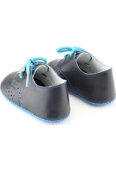 Deriza Bağcıklı Deri Bebek Ayakkabısı Lacivert