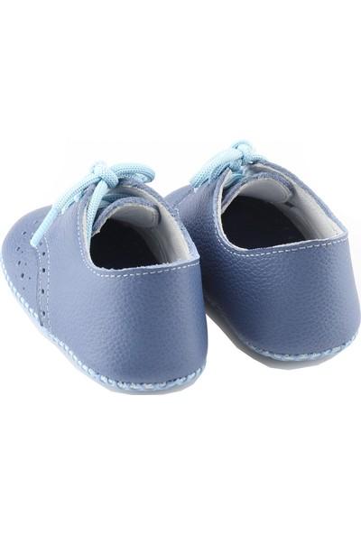 Deriza Bağcıklı Deri Bebek Ayakkabısı Mavi
