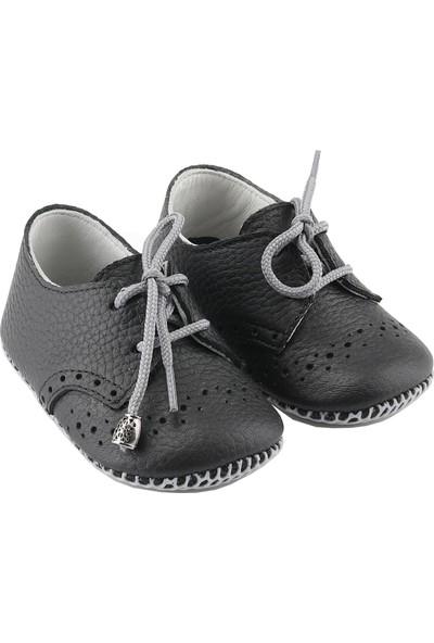 Deriza Bağcıklı Deri Bebek Ayakkabısı Siyah