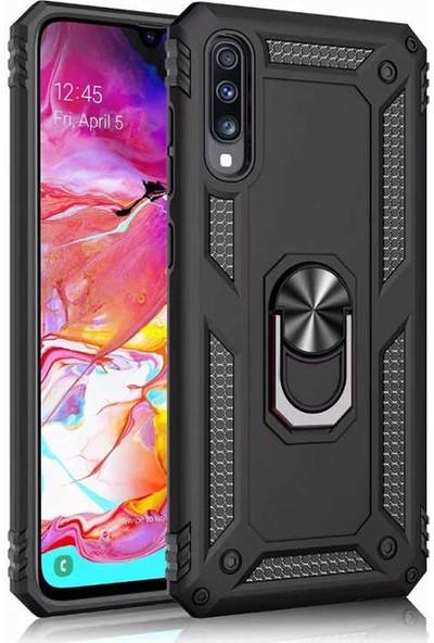 Case 4U Samsung Galaxy A50 Kılıf Çift Katmanlı Yüzüklü Manyetik Vega Kapak Siyah