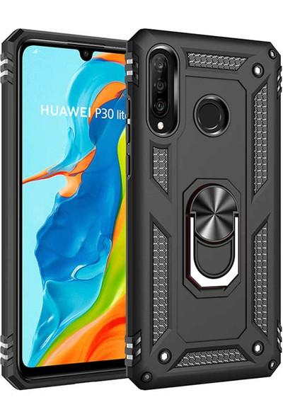 Case 4U Huawei P30 Lite Kılıf Çift Katmanlı Yüzüklü Manyetik Vega Kapak Siyah