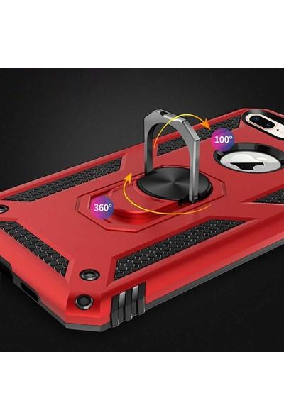Case 4U Apple iPhone 7 Plus - 8 Plus Kılıf Çift Katmanlı Yüzüklü Manyetik Vega Kapak Siyah