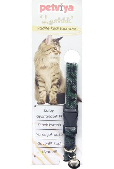 Petviya Lastikli ve Desenli Kadife Kedi Tasması (Esnek Kumaş)