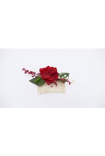 Afloday Solmayan Gerçek Çiçeklerle Tasarlanan Çiçek Saç Tarağı Tokası