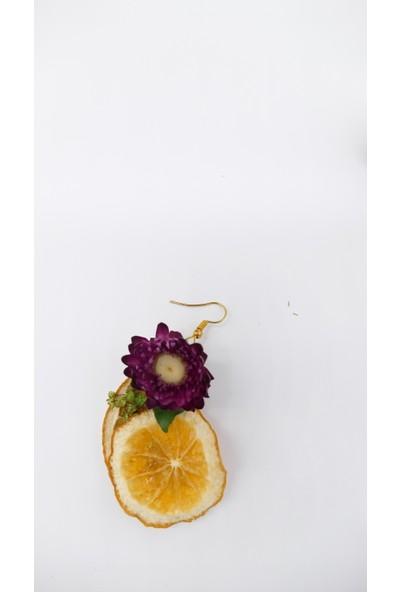Afloday Kuru Çiçek ve Meyvelerle Tasarlanan Çiçek Küpe Toka