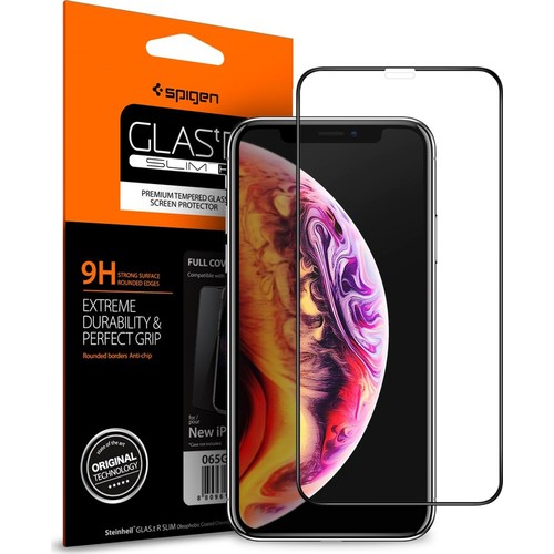Spigen Apple iPhone 11 Pro / iPhone XS / iPhone X Cam Ekran Koruyucu Tam Kaplayan Full Cover Black - 063GL25234