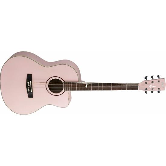 Cort Akustik Gitar, Kılıflı &Stickerli, Soluk Pembe Meta