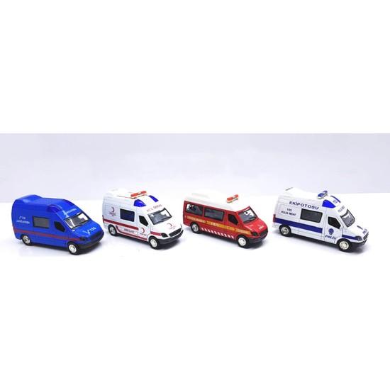 Can Oyuncak Pilli Işıklı Sesli 1:32 Metal Çek Bırak Ambulans-İtfaiye-Polis-Jandarma 4 Lü Set